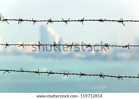 Barb wire fence with blue sky and city blackground  - stock photo