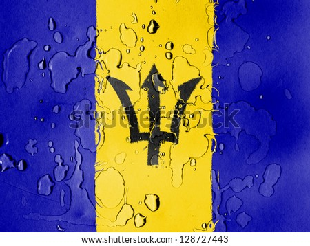 Barbados. Barbadian flag covered with water drops
