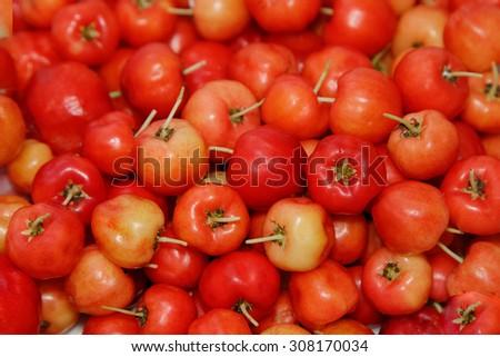 Barbados cherry (Malpighia glabra L.) ,fresh fruit background - stock photo