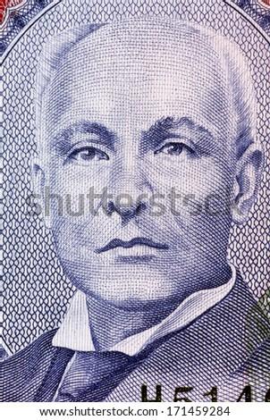 BARBADOS - CIRCA 2007: John Redman Bovell (1855-1928) on 2 Dollars 2007 Banknote from Barbados. Barbados superintendent of agriculture. His banana and sugar cane research buoyed Barbados economy. - stock photo