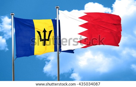 Barbados flag with Bahrain flag, 3D rendering