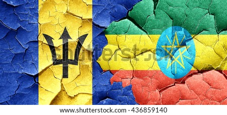 Barbados flag with Ethiopia flag on a grunge cracked wall - stock photo