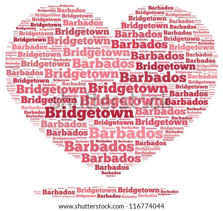 Barbados info-text graphics and arrangement concept on white background (word cloud)