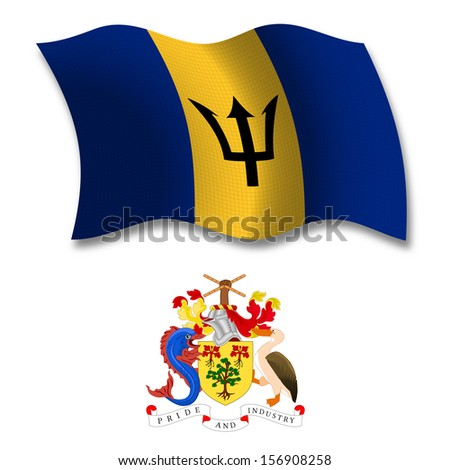 barbados shadowed textured wavy flag and coat of arms against white background, art illustration - stock photo