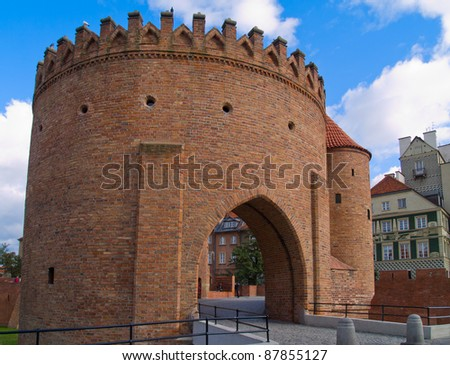 Barbakan walls of old Warsaw town, Poland