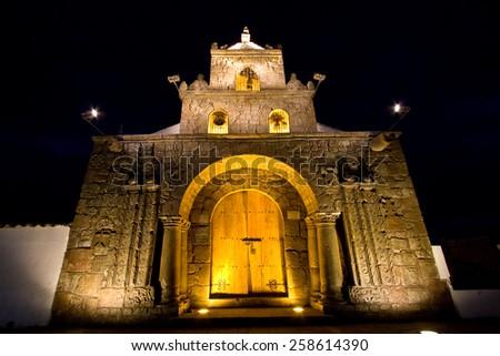Barbanera Church, the oldest catholic church of Ecuador, located in the province of Chimborazo - stock photo