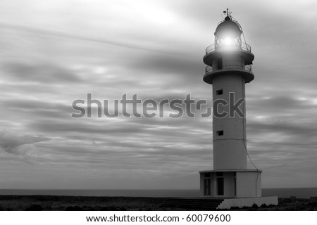 Barbaria cape lighthouse Formentera Balearic islands black and white - stock photo