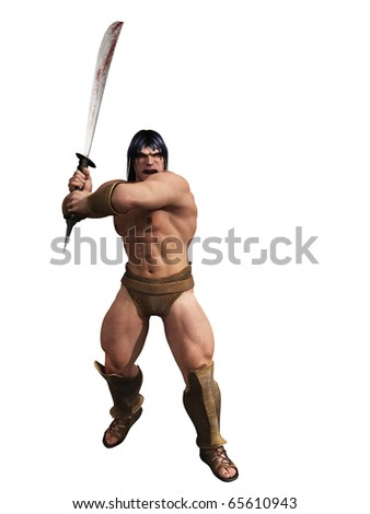 Barbarian warrior isolated - stock photo
