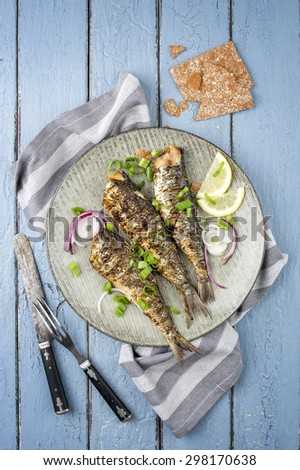 Barbecue Anchovy on Plate - stock photo