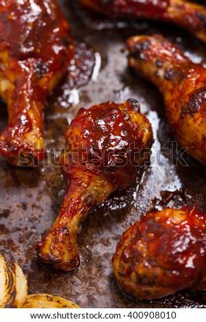 Barbecue Buffalo Chicken Drumsticks. Selective focus. - stock photo