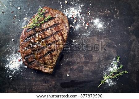 Barbecue Dry Aged Rib Eye Steak - stock photo