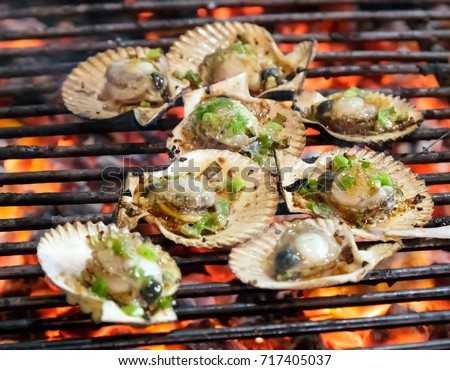 Barbecue Fire Grill, Shellfish molluscs seashells, oysters delicacies Seafood cuisine background