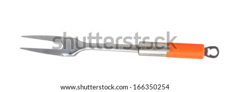 Barbecue fork with orange handle isolated on white background - stock photo