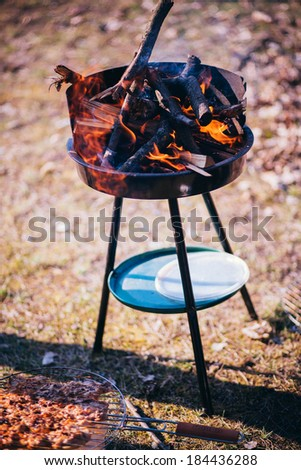 barbecue grill and fire - stock photo