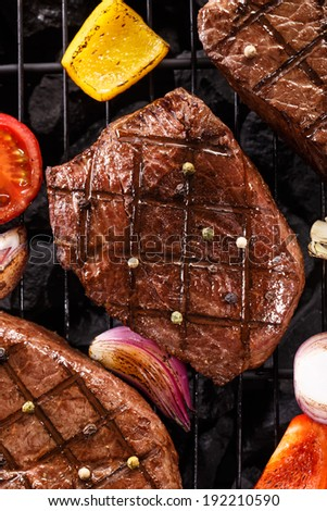 Barbecue Grill, Barbecue Party. Bbq grill, Barbecue, bbq Party, picnic, summer bbq. Barbecue background. Beef Steak on charcoal on the grill. Barbecue food, Barbecue vegetable. Barbecue time, bbq - stock photo