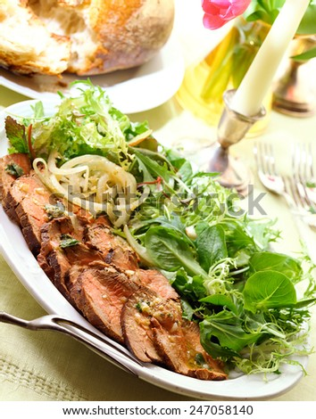 Barbecue Grilled Beef Steak Meat - stock photo