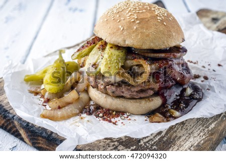 Barbecue Hamburger with BBQ Sauce