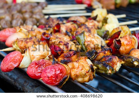Barbecue has been very popular in the holidays with family. - stock photo
