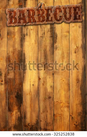 barbecue label nailed to a wooden background - stock photo