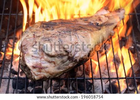 barbecue leg of lamb - stock photo