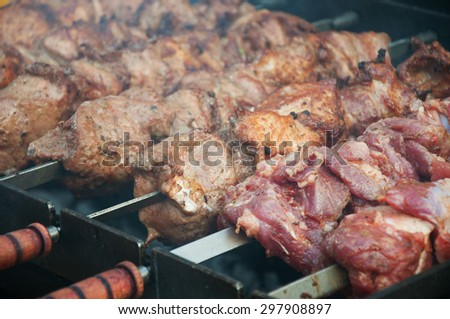 Barbecue meat cooked on skewers