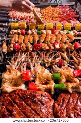 barbecue meats food BBQ - stock photo