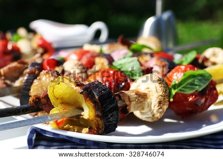 Barbecue on plates outdoor