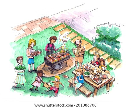 Barbecue party at the yard illustration. Family and friends barbecue  - stock photo