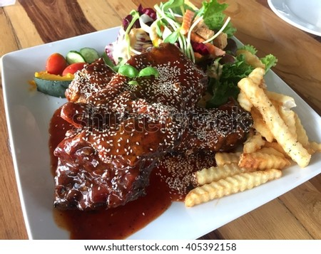 Barbecue port rib steak.