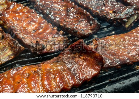 Barbecue Ribs on the Grill - stock photo