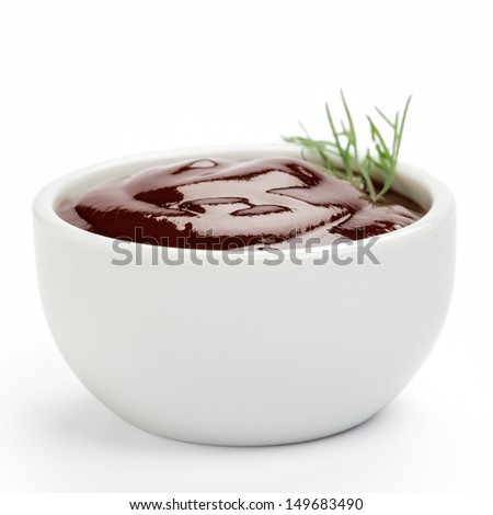 Barbecue sauce on a white background - stock photo