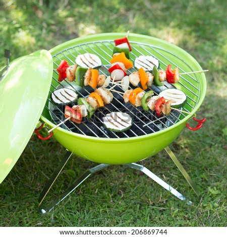 barbecue skewers and grilled vegetables