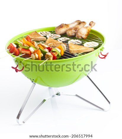 barbecue skewers and grilled vegetables isolated on white - stock photo