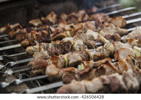 Barbecue skewers with meat on the brazier - stock photo