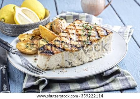 Barbecue Swordfish Steak on Plate - stock photo