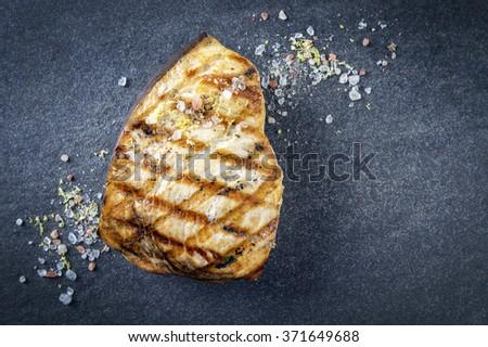 Barbecue Swordfish Steak on Stone Board - stock photo