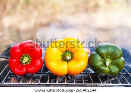 Barbecue vegetables on the grill. Healthy food (meal) on flaming hot. View  of grilling  three peppers (paprika, capsicum) on fire in the summer BBQ or picnic. Lunchtime, cookout. Copy space. Outdoor. - stock photo