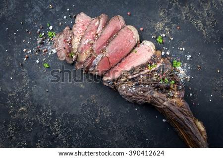 Barbecue Wagyu Tomahawk Steak - stock photo
