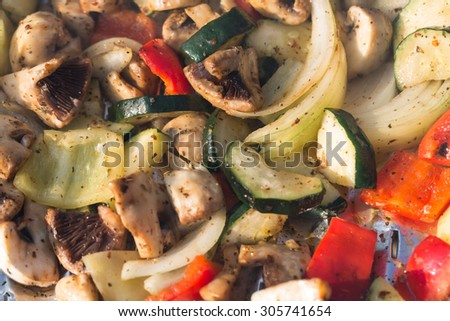 barbecue with delicious grilled vegetables on grill