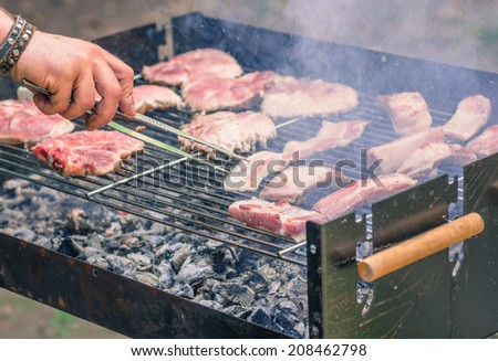 barbecue with friends - stock photo