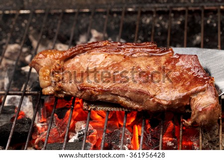 Barbecue with steak