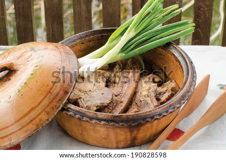 Barbecued meat with green onion in brown bowl