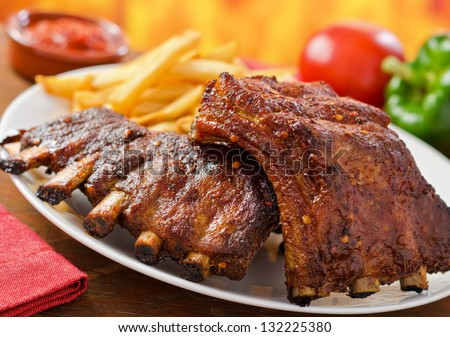 Barbecued Pork Baby Back Ribs - stock photo