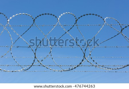 Barbed and razor wire security fence