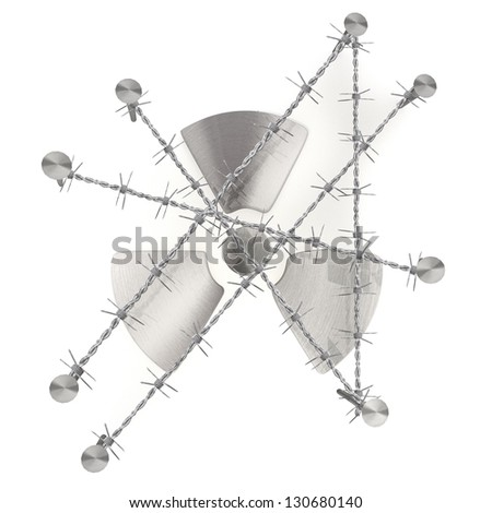 barbed razor wire arrest 3d graphic with caged atom symbol - stock photo