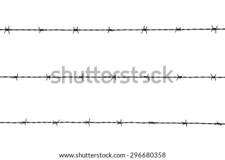 Barbed wire against white background isolated. Concept for prison, jail, concentration camp and captive - stock photo