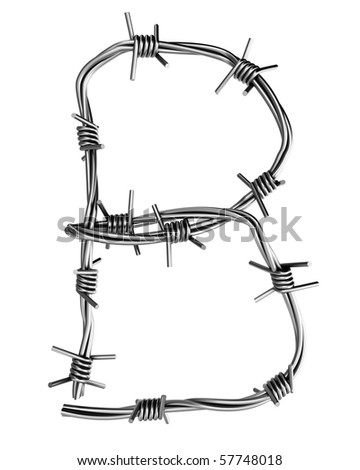 Barbed wire alphabet, B - stock photo