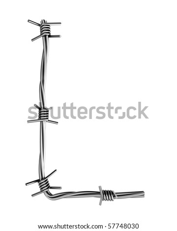 Barbed wire alphabet, L - stock photo