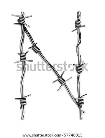 Barbed wire alphabet, N - stock photo