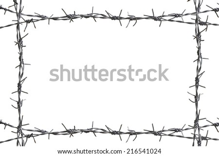 barbed wire as a border - stock photo